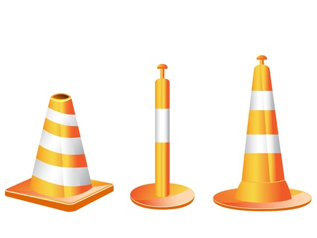 3 different type of orange color traffic cones  Vector