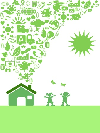the background of green Eco icon house  Vector