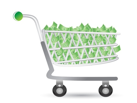 inflation basket: one shopping cart filled with money