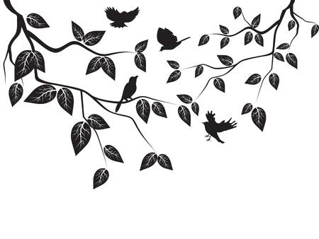 silueta hoja: aves volando en el �rbol