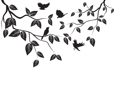 botanical branch: birds flying in the tree Illustration