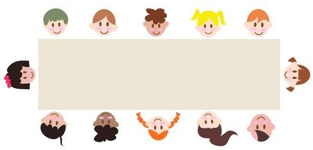 grade: multicultural children around a blank banner