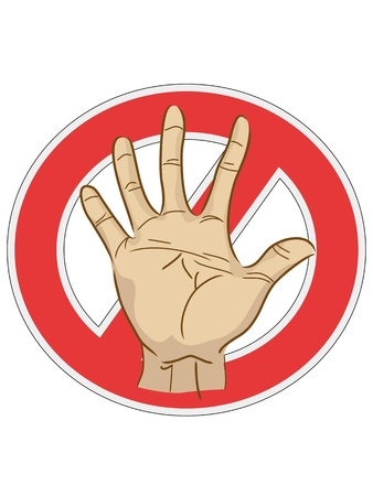 halt: the sign of stop with hand   Illustration
