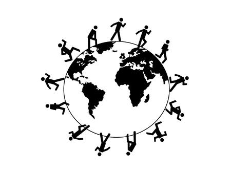symbol people running around the world Vector