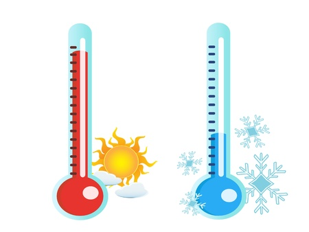 hot and cold: isolated two thermometer in hot and cold temperature