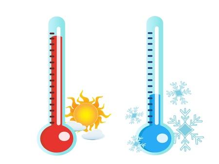 freddo: isolato due termometro di temperatura calda e fredda