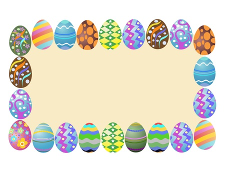 brown egg: easter eggs around a blank banner