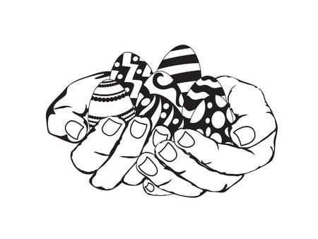 egg shell: sketch of hands holding easter eggs Illustration