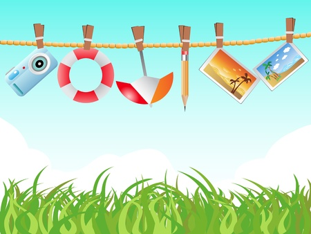 some icons hanging on the rope Stock Vector - 9279705