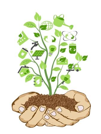 antipollution: el fondo de manos sosteniendo iconos verdes