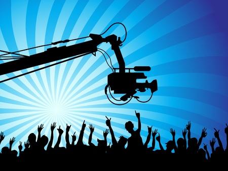 broadcasting: el fondo de la c�mara de tv con multitudes Vectores