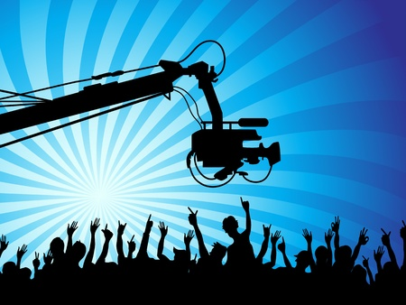 the background of tv camera with crowds Vector