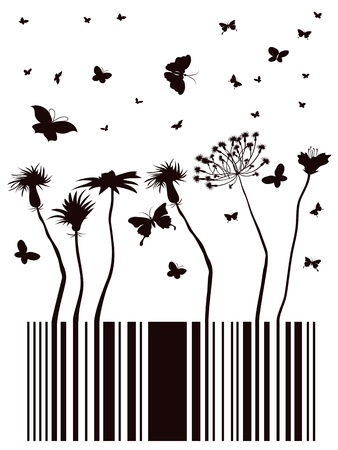 barcode designed in garden form Vector