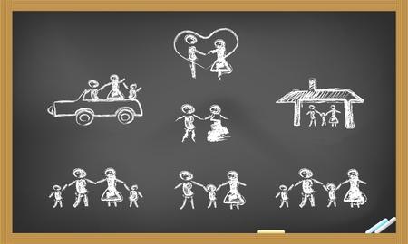 doodle happy family on blackboard
