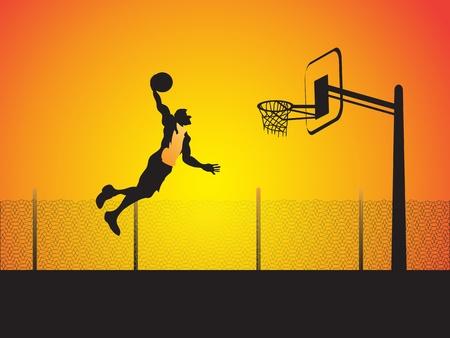 dunk: a basketball player do a big slam dunk