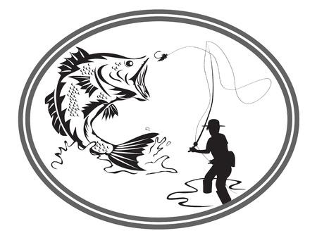 het ontwerp van visserij bas embleem Vector Illustratie
