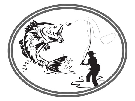 fish store: the design of fishing bass emblem