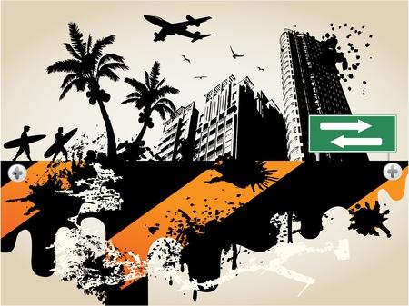 surf silhouettes: sullo sfondo della citt� di palma estate per le vacanze