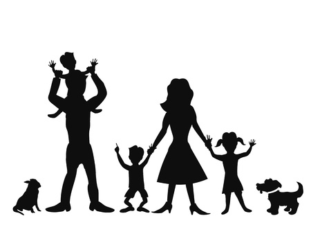 protect family: silhouettes of happy family on white background