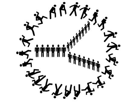 around the clock: symbol people form a clock
