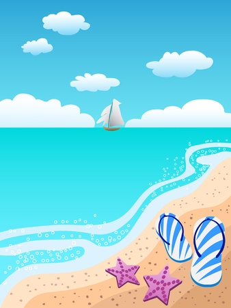sandals on the beach and welcome summer coming Vector
