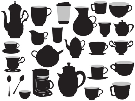 latte art: some hand drawing set of coffee pots and cups