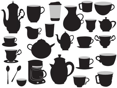 Sommige hand tekening set potten koffie en bekers