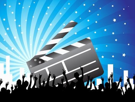 cinematograph: un clapper y multitudes en el fondo azul ray