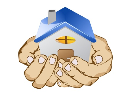 hands holding house on white background Vector