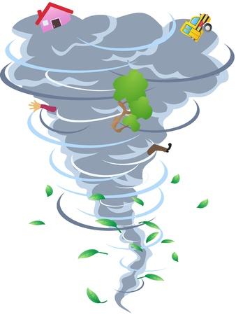 de cartoon-stijl van tornado