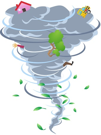 terrifying: the cartoon style of tornado Illustration