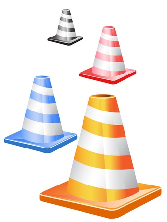 road closed: 4 different color traffic cones in a row
