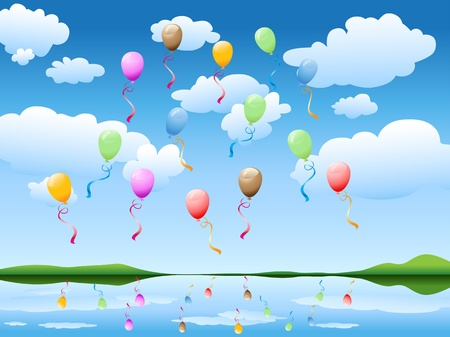 many colorful balloons floating in the blue sky Stock Vector - 9504862
