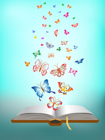 new books: butterfly flying around the book
