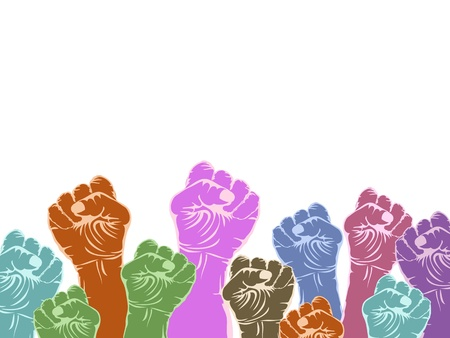 color fists with copy space above on white background  Vector