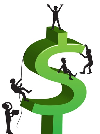 grow money: people climbing the dollar sign Illustration
