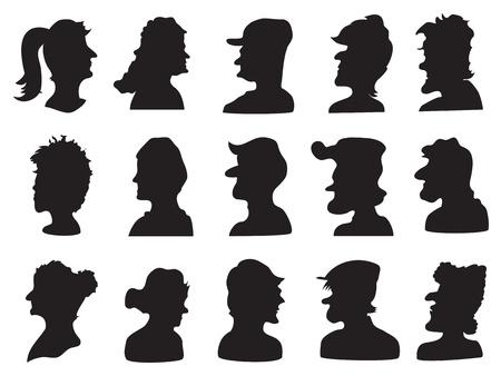 schulter: Satz von Menschen Profil Silhouette f�r design