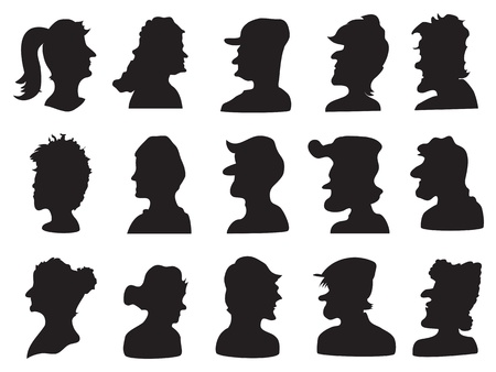 set of people profile silhouette for design Vector