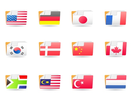 some flags design on folders icons  Vector