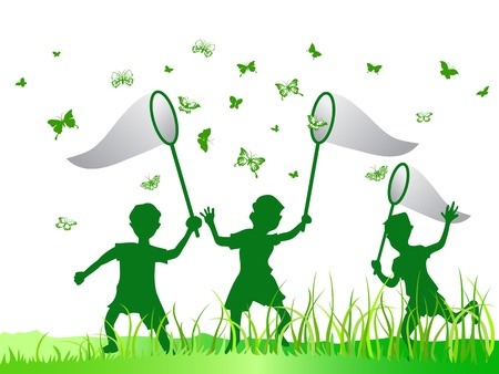 butterfly net: kids catching butterfly in green color Illustration