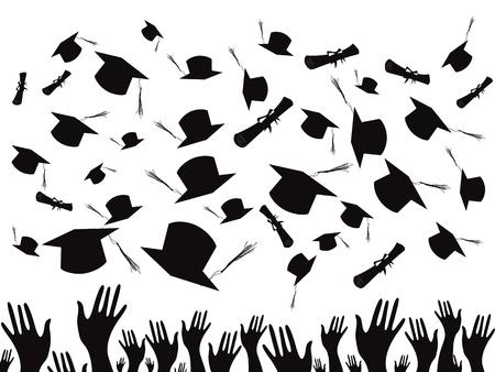 졸업하고 모자를 던지는 학생들 일러스트
