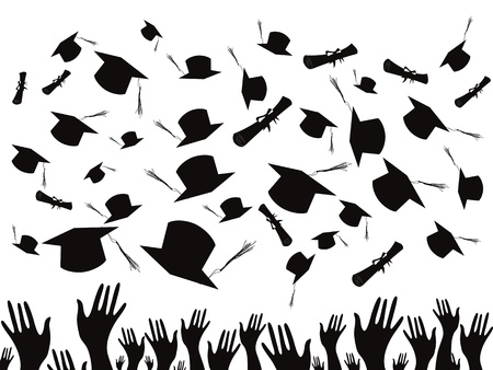 Students graduating and tossing caps Ilustra��o