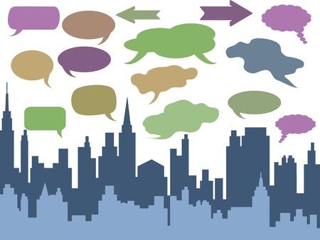 speech bubbles above the city Vector