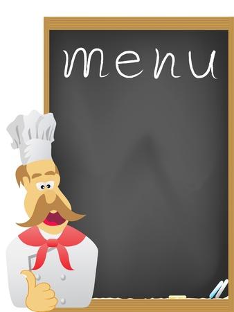 el chef y Junta de menú  Ilustración de vector
