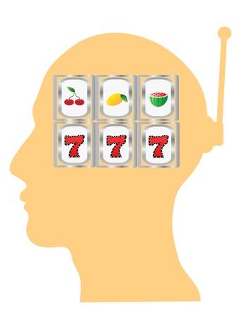 slot machine in the head Vector
