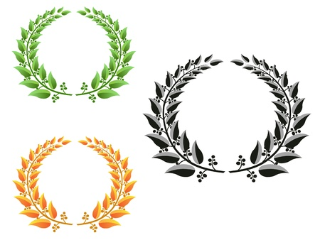 three different color laurel wreaths Stock Vector - 9569256