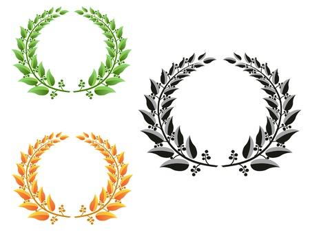 golden laurel wreath: three different color laurel wreaths