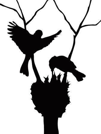 �rboles con pajaros: la silueta de la familia de hermosas aves Vectores