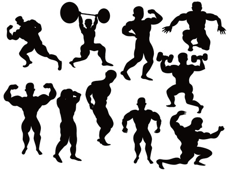 the silhouette of bodybuilders pose Vector