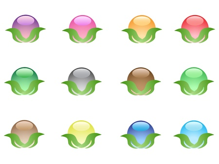 colorful leaf buttons for web design Stock Vector - 9569268